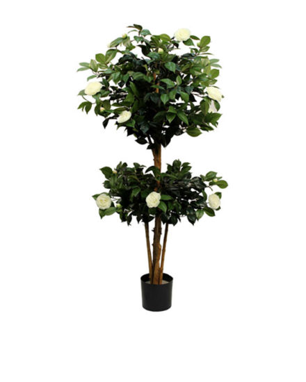 Realistic looking artificial fake tree used in offices, home and plantscaping for sale and bulk purchase online - FLOWERING-TREE-CAMELIA-WHITE