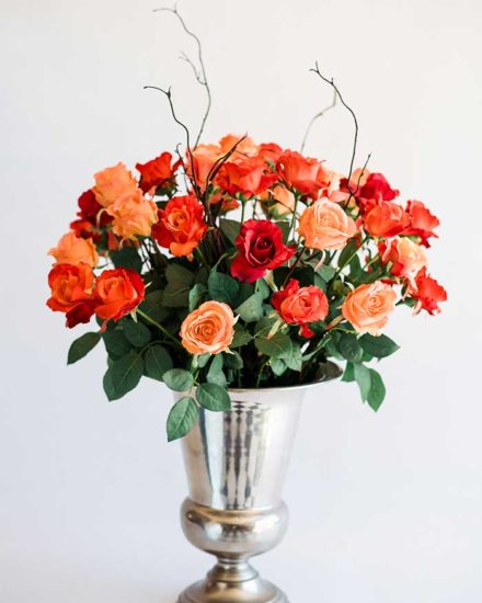 MIXED ORANGE 7 RED ROSES IN TIN