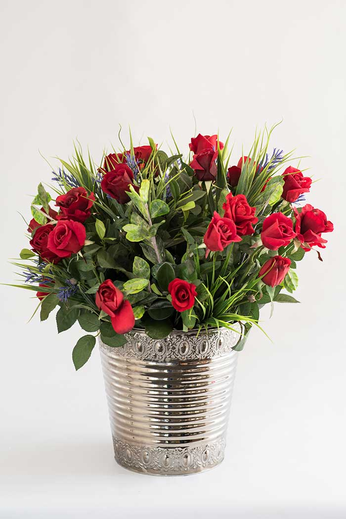 Bloomin Beautiful Flowers Red Roses With Chopped Spring Grass In Large Silver Bucket Vase