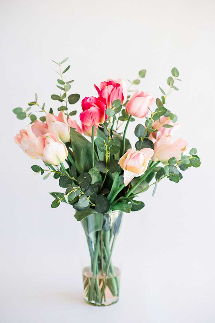 PINK TULIPS IN GLASS VASE