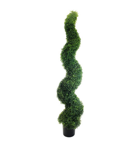 Realistic looking artificial fake tree used in offices, home and plantscaping for sale and bulk purchase online - spiral boxwood